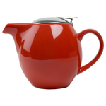 OmniWare Teaz Red Stoneware 24 Ounce Teapot with Stainless Steel Infuser