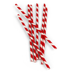 Kikkerland Red Stripe Paper Straw, Set of 24