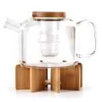 Kikkerland Glass 30 Ounce Tea Pot with Wooden Stand