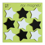 Three by Three Black and White Star Rubber Refrigerator Magnet, 9 Pack
