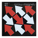 Three by Three Red and White Arrow Rubber Refrigerator Magnet, 9 Pack