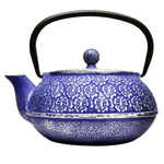 Primula Floral Blue Cast Iron 40 Ounce Teapot with Stainless Steel Infuser