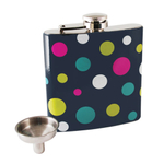 True Fabrications Polka Dot Stainless Steel Fancy Flask, 6 Ounce