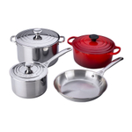 Le Creuset Stainless Steel and Cherry Enameled Cast Iron 7 Piece Mixed Cookware Set
