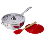 Le Creuset Cerise Cherry 4 Piece Stainless Steel 3.5 Quart Chef's Pan Holiday Bundle Set