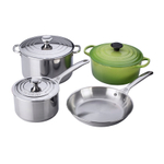 Le Creuset Stainless Steel and Palm Enameled Cast Iron 7 Piece Mixed Cookware Set