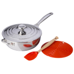 Le Creuset Flame 4 Piece Stainless Steel 3.5 Quart Chef's Pan Holiday Bundle Set