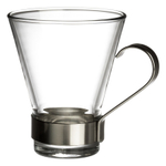 Bormioli Rocco Ypsilon Glass Cappuccino 7.5 Ounce Mug with Metal Handle