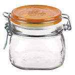 Bormioli Rocco Fido 17.5 Ounce Square Glass Jar With Orange Lid
