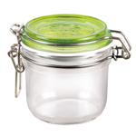Bormioli Rocco Fido 4.25 Ounce Round Glass Jar With Green Lid