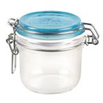 Bormioli Rocco Fido 4.25 Ounce Round Glass Jar With Sky Blue Lid