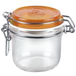Bormioli Rocco Fido 4.25 Ounce Round Glass Jar With Orange Lid