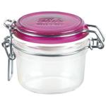 Bormioli Rocco Fido 6.75 Ounce Round Glass Jar With Fuchsia Lid
