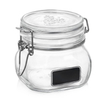 Bormioli Rocco Fido Square Chalk Label 17.5 Ounce Glass Jar