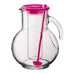 Bormioli Rocco Kufra 2.25 Quart Glass Jug With Ice Container and Fuchsia Lid