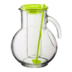 Bormioli Rocco Kufra 2.25 Quart Glass Jug With Ice Container and Green Lid