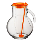 Bormioli Rocco Kufra 2.25 Quart Glass Jug With Ice Container and Orange Lid
