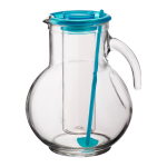 Bormioli Rocco Kufra 2.25 Quart Glass Jug With Ice Container and Sky Blue Lid