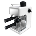 Bene Casa Stainless Steel 4-Cup White Espresso Maker with Frother