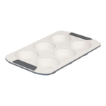 Viking Cream and Gray Coated Ceramic Nonstick 6 Cup Muffin Pan