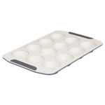 Viking Cream and Gray Coated Ceramic Nonstick 12 Cup Muffin Pan
