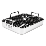 Viking 3 Ply Mirror Finish Stainless Steel Roasting Pan with Non-Stick Rack