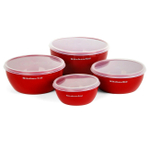 Kitchenaid Classic 4 Piece Red Prep Bowl Set with Lids