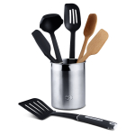 Calphalon Nylon and Wood 7 Piece Utensil Set with Stainless Steel Crock