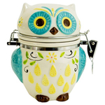 Boston Warehouse Earthenware Floral Owl Hinged Jar
