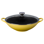 Le Creuset Soleil Yellow Enameled Cast Iron 5 Quart Wok with Glass Lid