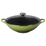 Le Creuset Palm Enameled Cast Iron 5 Quart Wok with Glass Lid