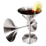 Oggi Satin Finish Stainless Steel 8 Ounce Martini Goblet, Set of 2
