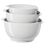 Oggi White Melamine 3 Piece Mixing Bowl Set