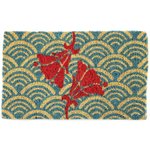 Entryways Scalloped Floral Handwoven Coconut Fiber Coir 18 x 30 Inch Doormat