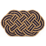 Entryways Braided Blue Oval Handwoven Coconut Fiber Coir 18 x 30 Inch Doormat
