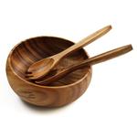 Pacific Merchants Acaciaware Round 10 Inch Calabash Bowl and Salad Serving Set