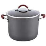 Rachel Ray Cucina Cranberry Red Hard Anodized Nonstick 10 Quart Covered Stock Pot