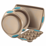 Rachel Ray Cucina Latte Brown and Agave Blue Carbon Steel 4 Piece Nonstick Bakeware Set