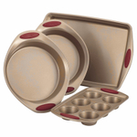 Rachel Ray Cucina Latte Brown and Cranberry Red Carbon Steel 4 Piece Nonstick Bakeware Set