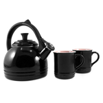 Le Creuset 3 Piece Black Onyx Enamel on Steel Peruh Kettle and Stoneware Mug Set