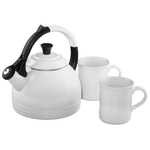 Le Creuset 3 Piece White Enamel on Steel Peruh Kettle and Stoneware Mug Set
