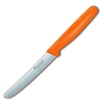 Victorinox Swiss Stainless Steel Round 4.5 Inch Utility Knife with Orange Fibrox Handle