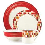 Gorham Julia Street Red Stoneware 16 Piece Dinnerware Set