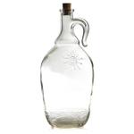 Grant Howard Turkish Glass Jumbo Pot Belly 2 Quart Corked Bottle with Embossed Taormina Sun
