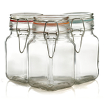 Grant Howard Bail and Trigger 8 Ounce Square Storage Jar, Set of 3