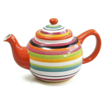 Omniware Rio Multi-Stripe Ceramic 45 Ounce Teapot with Infuser