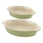 Typhoon Vintage Green Ceramic Oval Baking Dish, Set of 2