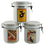 French Art Nouveau Poster 3 Piece Ceramic Canister Set