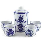 Blue Floral Sake Carafe and Cup 5 Piece Set