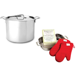 All-Clad D5 Brushed Stainless Steel 12 Quart Stock Pot With Free 4 Piece Lasagna Set